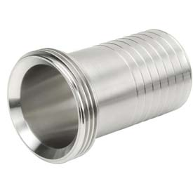"VNE 3A Series 2-1/2"" Rubber Hose Adapter, 304/316L Stainless, Threaded Bevel Ferrule Connection"