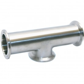MaxPure TE7WCSW6L1.5-PM  BPE Series 1-1/2 Tee, T316L Stainless, Weld X Short Clamp X Weld Connection