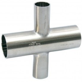 MaxPure TE9RWWWW6L4.0X2.5-PL  BPE Series 4 x 2-1/2 Reducing Cross, T316L Stainless, Weld Connection