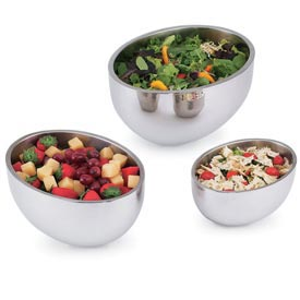 Stainless Steel Double Wall Oval Bowl 4.0 Qt - Pkg Qty 6