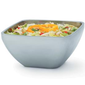 Stainless Steel Square Bowl - Double Wall Plain 8.30 Qt - Pkg Qty 3