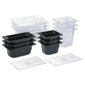 "1/2 Super Pan 3® 100mm, 4"" - Black Plastic Pan - Pkg Qty 6"