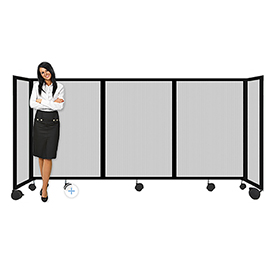 """Portable Mobile Room Divider, 4'x8'6"""" Polycarbonate, Clear"""