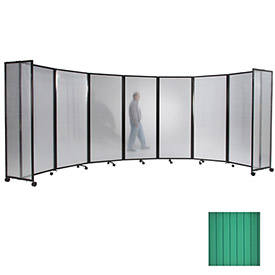"""Portable Mobile Room Divider, 6'x19'6"""" Polycarbonate, Green"""