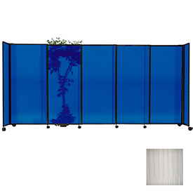 "Portable Sliding Panel Room Divider, 7'6""x11'3"" Polycarbonate, Clear"