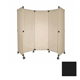 Portable Mobile Room Divider, 6' Black