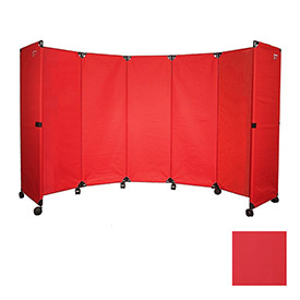 "Portable Mobile Room Divider, 6'x10"" Red"