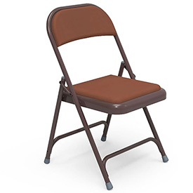 Virco® 168 Steel Folding Chair, Brown Frame With Brown Vinyl Upholstery - Pkg Qty 4