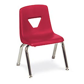 Virco 2014 Medium Plastic Classroom Chair, Red With Chrome Frame Package Count 4 by