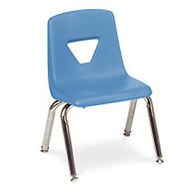 Virco 2016 Large Plastic Classroom Chair, Blue With Chrome Frame Package Count 4 by