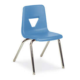 Virco® 2018 Full-Sized Plastic Classroom Chair, Blue With Chrome Frame - Pkg Qty 4