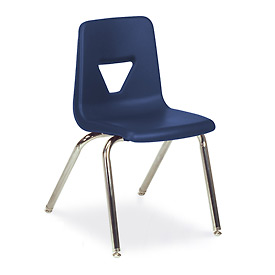 Virco® 2018 Full-Sized Plastic Classroom Chair, Navy With Chrome Frame - Pkg Qty 4