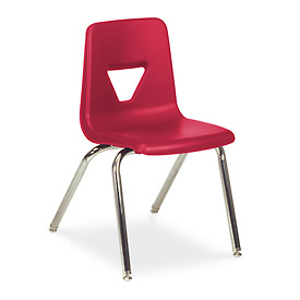 Virco® 2018 Full-Sized Plastic Classroom Chair, Red With Chrome Frame - Pkg Qty 4