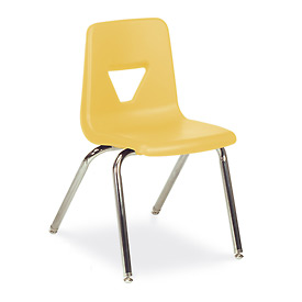 Virco® 2018 Full-Sized Plastic Classroom Chair, Yellow With Chrome Frame - Pkg Qty 4