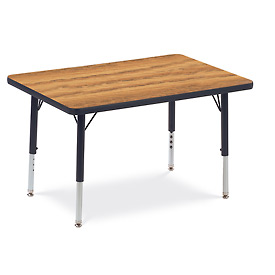 "Virco® 482436LO Activity Table w/ Short Adj. Legs, 24"" x 36"", Black Frame/Oak Top"