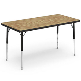 "Virco® 482448LO Activity Table w/ Short Adj. Legs, 24"" x 48"", Black Frame/Oak Top"
