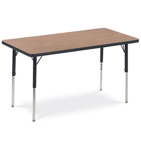 "Virco® Activity Table w/ Standard Adj. Legs, 24"" x 48"", Black Frame/Oak Top"