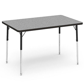 "Virco® Activity Table w/ Adjustable Legs - 30"" x 48"" - Rectangle - Black Frame/Gray Top"
