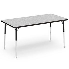 "Virco® Activity Table w/ Adjustable Legs - 30"" x 60"" - Rectangle - Black Frame/Gray Top"