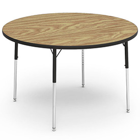 "Virco® Activity Table w/ Adjustable Legs - 48"" Round - Black Frame/Oak Top"