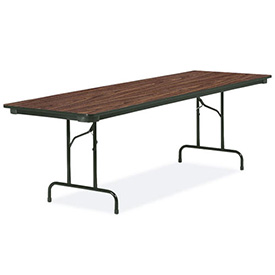 "Virco® Laminate Folding Table - 30""x72"" - Black with Walnut Top"