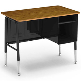 """Virco 765 Junior Executive Student Desk 20""""x34"""", Black Frame with Oak Top by"""
