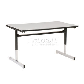 "Virco® Height Adjustable Training Table - 24""x48"", Black Frame with Gray Top"
