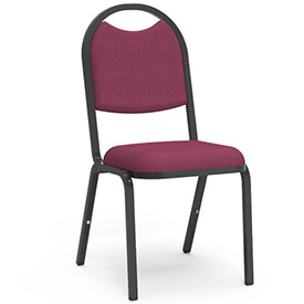 Virco® 8917 Domed Seat Round Back Stacking Chair, Black Frame/Red Fabric - Pkg Qty 4