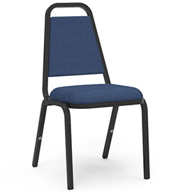 Virco® 8926 Domed Seat Straight Back Stack Chair Black Frame/Blue Fabric - Pkg Qty 4