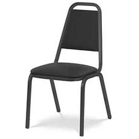 Virco® 8926 Domed Seat Straight Back Stacking Chair Black Frame/Black Vinyl - Pkg Qty 4