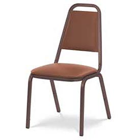 Virco® 8926 Domed Seat Straight Back Stacking Chair Brown Frame/Brown Vinyl - Pkg Qty 4