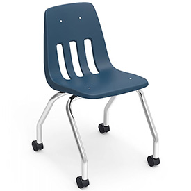 Virco® 9050 Classroom Chair W/ Casters, Blue With Chrome Frame - Pkg Qty 2