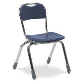 Virco® N312 Small Telos® Stacking Chair, Blue With Chrome Frame - Pkg Qty 5