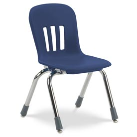 """Virco® N912 The Metaphor® Stacking Chair 12"""", Navy With Chrome - Pkg Qty 5"""