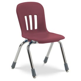 """Virco® N912 The Metaphor® Stacking Chair 12"""", Wine With Chrome - Pkg Qty 5"""