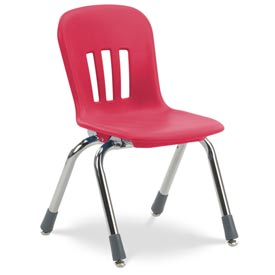 "Virco® N912 The Metaphor® Stacking Chair 12"", Red With Chrome - Pkg Qty 5"