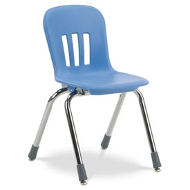 "Virco® N914 The Metaphor® Stacking Chair 14"", Blue With Chrome - Pkg Qty 5"