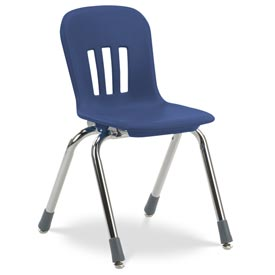 "Virco® N914 The Metaphor® Stacking Chair 14"", Navy With Chrome - Pkg Qty 5"
