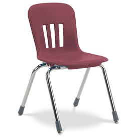 """Virco® N916 The Metaphor™ Stacking Chair 16"""", Wine With Chrome - Pkg Qty 4"""