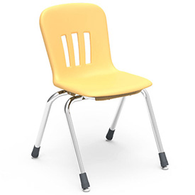"Virco® N916 The Metaphor® Stacking Chair 16"", Yellow With Chrome - Pkg Qty 4"
