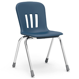 "Virco® N918 The Metaphor® Stacking Chair 18"", Navy With Chrome - Pkg Qty 4"
