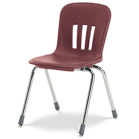 "Virco® N918 The Metaphor® Stacking Chair 18"", Wine With Chrome - Pkg Qty 4"