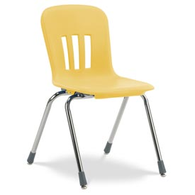 "Virco® N918 The Metaphor® Stacking Chair 18"", Yellow With Chrome - Pkg Qty 4"