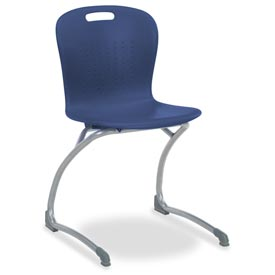 "Virco® Sgcant18 The Sage™ Cantilever Chair 18"", Navy With Chrome - Pkg Qty 2"