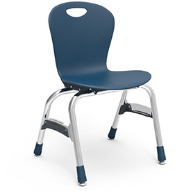 "Virco® Zu415 The Zuma® Stacking Chair 15"", Navy With Chrome - Pkg Qty 5"