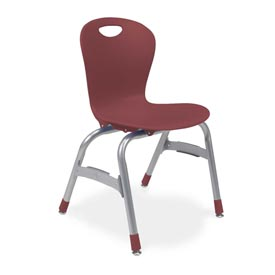 "Virco® Zu415 The Zuma® Stacking Chair 15"", Wine With Chrome - Pkg Qty 5"
