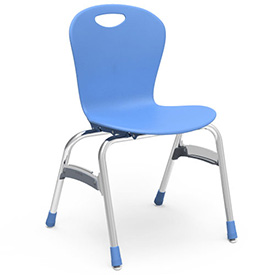 "Virco® Zu418 The Zuma® Stacking Chair 18"", Blue With Chrome - Pkg Qty 4"