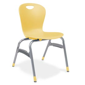 "Virco® Zu418 The Zuma® Stacking Chair 18"", Yellow With Chrome - Pkg Qty 4"