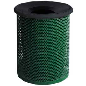 "Metal Waste Container W/Black Aluminum Funnel Lid, 22"" Dia. X 28"" Green"