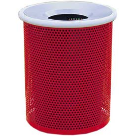 "Metal Waste Container W/Gray Aluminum Funnel Lid, 22"" Dia. X 28"" Red"